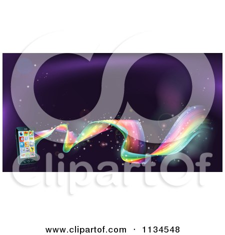Clipart Of A Rainbow Wave Flowing From A Cell Phone With Apps - Royalty Free Vector Illustration by AtStockIllustration