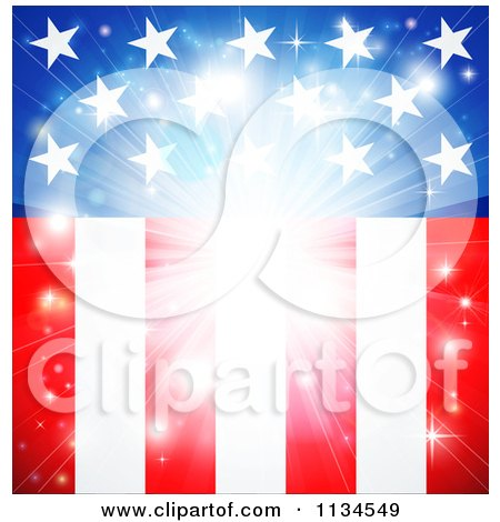 Clipart Of A Bright American Flag Burst Background - Royalty Free Vector Illustration by AtStockIllustration