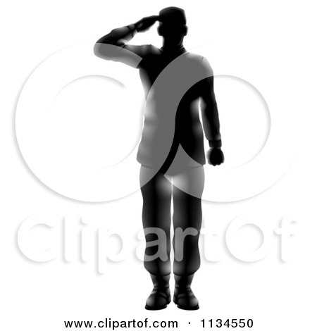 Clipart Of A Silhouetted Saluting American Military Soldier With Light Flares Royalty Free Vector Illustration