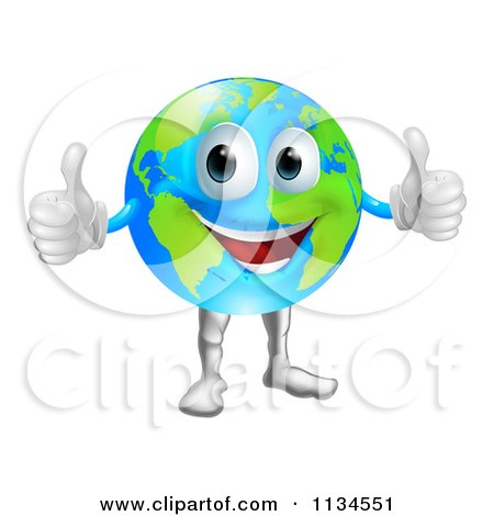 Cartoon Of A Globe Mascot Holding Two Thumbs Up - Royalty Free Vector Clipart by AtStockIllustration