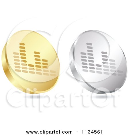 Clipart Of 3d Gold And Silver Equalizer Coin Icons - Royalty Free Vector Illustration by Andrei Marincas