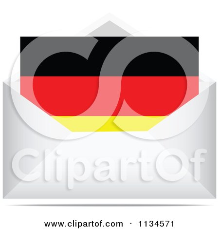 Clipart Of A German Letter In An Envelope - Royalty Free Vector Illustration by Andrei Marincas