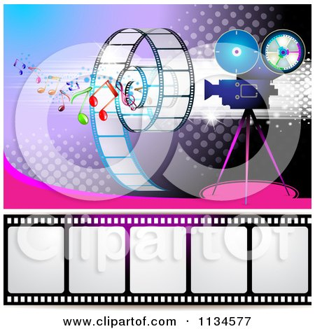 Clipart Of A Filming Movie Camera With Film And Music Notes Over Purple With Halftone 1 - Royalty Free Vector Illustration by merlinul