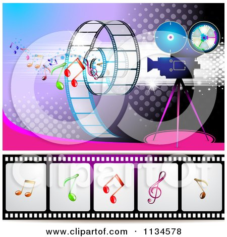 Clipart Of A Filming Movie Camera With Film And Music Notes Over Purple With Halftone 2 - Royalty Free Vector Illustration by merlinul