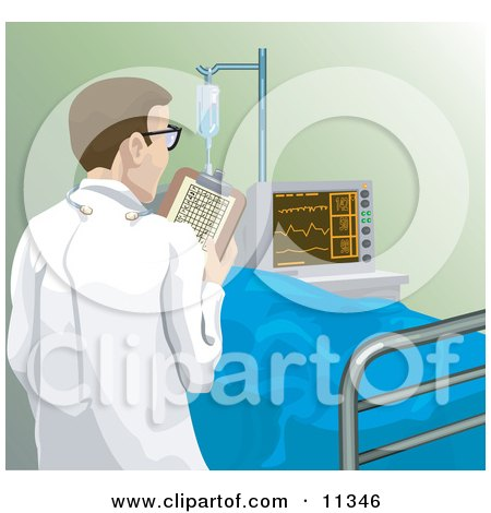 Male Doctor Checking in on a Patient in a Hospital Clipart Illustration by AtStockIllustration