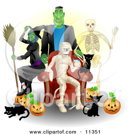 Witch, Frankenstein, Skeleton, Mummy, Black Cats and Pumpkins at a Halloween Party Clipart Illustration by AtStockIllustration
