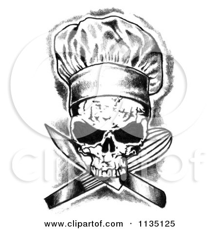 clipart of a black and white skull chef and crossed knife and whisk royalty free illustration. Black Bedroom Furniture Sets. Home Design Ideas