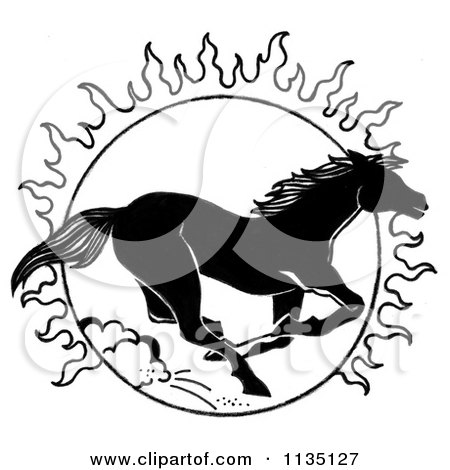 Clipart Of A Black And White Running Horse And Sun - Royalty Free Illustration by LoopyLand