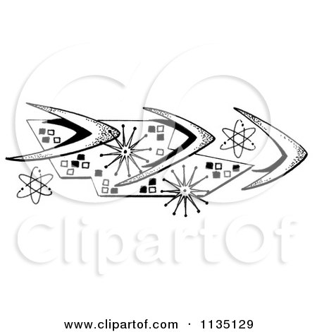 Clipart Of A Black And White Retro Boomerang And Atom Motif - Royalty Free Illustration by LoopyLand