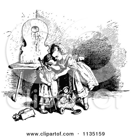 Clipart Of A Retro Vintage Black And White Girl Consoling Her Sister Over A Broken Toy - Royalty Free Vector Illustration by Prawny Vintage