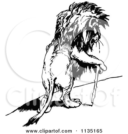 Clipart Of A Retro Vintage Black And White Injured Lion Using A Cane - Royalty Free Vector Illustration by Prawny Vintage