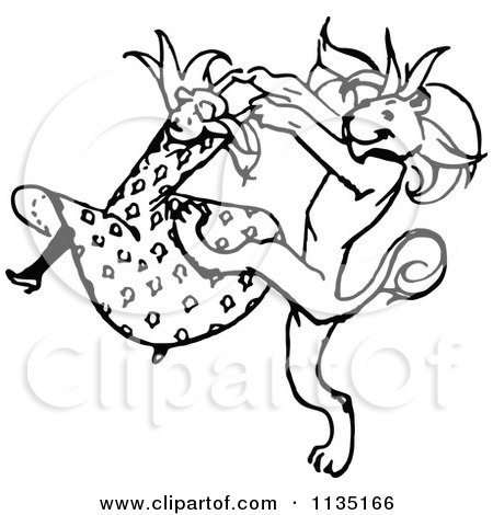 Clipart Of A Retro Vintage Black And White Dancing Girl And Lion - Royalty Free Vector Illustration by Prawny Vintage