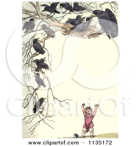 Clipart Of A Vintage Frame Of Nesting Crows Over A Girl - Royalty Free Illustration by Prawny Vintage