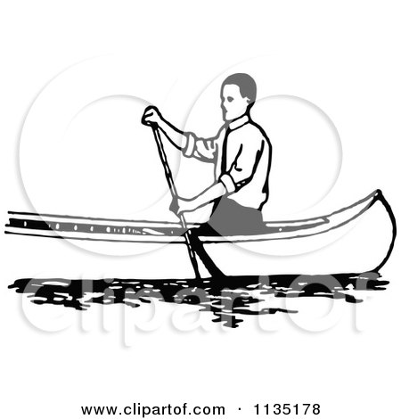 Clipart Of A Retro Vintage Black And White Man Canoeing 1 - Royalty Free Vector Illustration by Prawny Vintage
