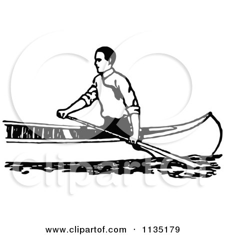 Clipart Of A Retro Vintage Black And White Man Canoeing 2 - Royalty Free Vector Illustration by Prawny Vintage