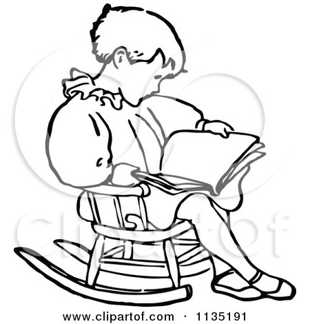 Clipart Of A Retro Vintage Black And White Boy Reading In A Rocking Chair - Royalty Free Vector Illustration by Prawny Vintage