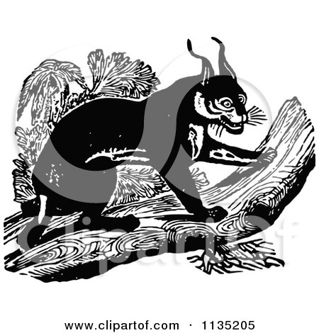 Clipart Of A Retro Vintage Black And White Caracal On A Log - Royalty Free Vector Illustration by Prawny Vintage