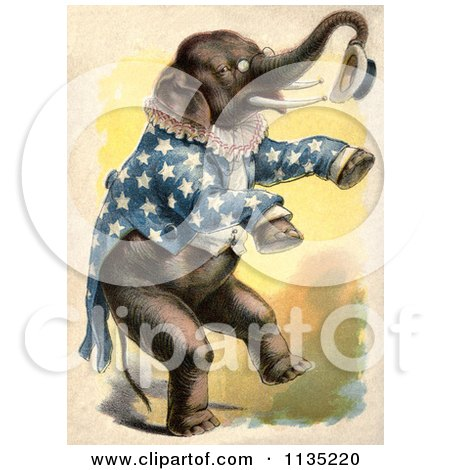 Clipart Of A Vintage Circus Elephant Standing Up And Holding A Hat - Royalty Free Illustration by Prawny Vintage