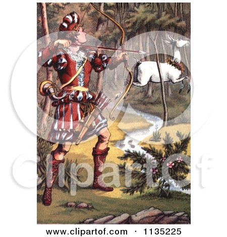 Clipart Of A Warrior Hunting A White Fawn - Royalty Free Illustration by Prawny Vintage