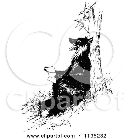 Clipart Of A Retro Vintage Black And White Fox Reading Against A Tree - Royalty Free Vector Illustration by Prawny Vintage