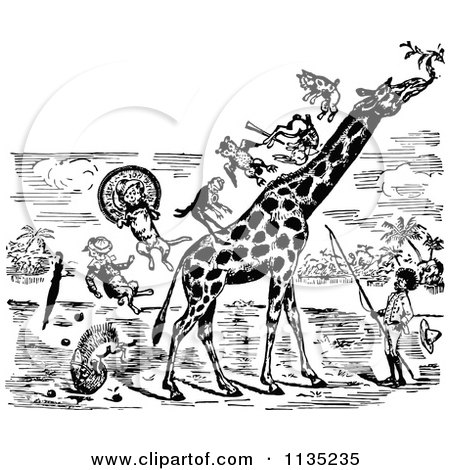 Clipart Of A Retro Vintage Black And White Man And Stunt Animals On A Giraffe - Royalty Free Vector Illustration by Prawny Vintage