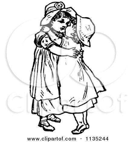 Clipart Of Retro Vintage Black And White Sisters Hugging ...