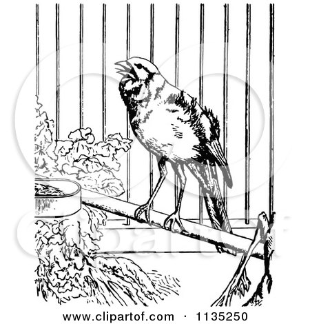 Clipart Of A Retro Black And White Canary In A Cage - Royalty Free Vector Illustration by Prawny Vintage