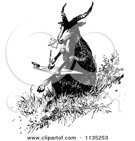 Clipart Of A Retro Vintage Black And White Goat Writing A Letter - Royalty Free Vector Illustration by Prawny Vintage