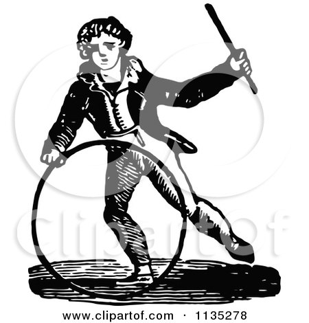 Clipart Of A Retro Vintage Black And White Boy With A Hoop And Wand - Royalty Free Vector Illustration by Prawny Vintage