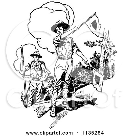 Clipart Of Retro Vintage Black And White Boy Scouts With Flags - Royalty Free Vector Illustration by Prawny Vintage