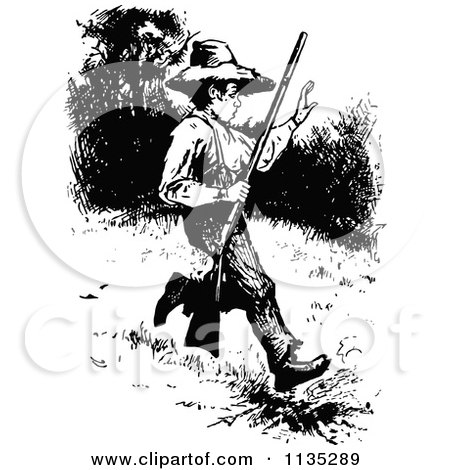 retro vintage black and white boy hunting posters art