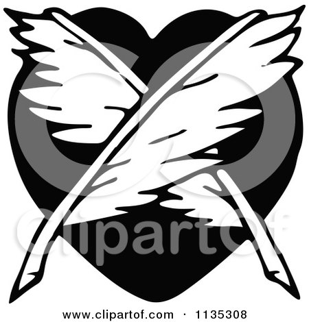 Clipart Of Retro Vintage Black And White Crossed Feathers And Heart - Royalty Free Vector Illustration by Prawny Vintage