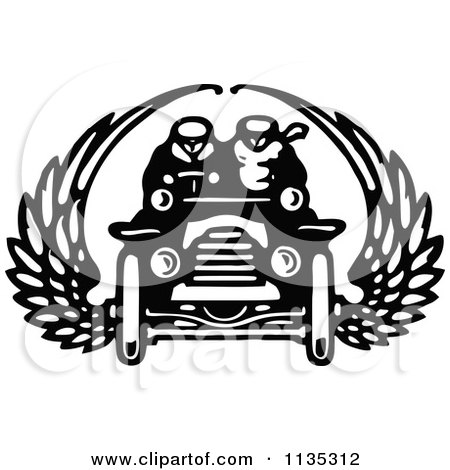 Clipart Of A Retro Vintage Black And White Couple In A Winged Car - Royalty Free Vector Illustration by Prawny Vintage