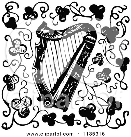 Clipart Of A Retro Vintage Black And White Harp And Clovers - Royalty Free Vector Illustration by Prawny Vintage
