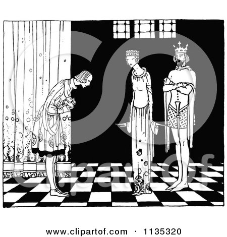 Clipart Of A Retro Vintage Black And White Person Bowing To The King And Queen - Royalty Free Vector Illustration by Prawny Vintage
