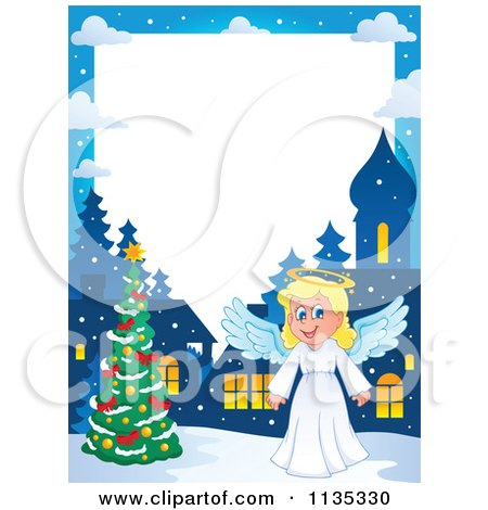 Cartoon Of A Christmas Angel Border 1 - Royalty Free Vector Clipart by visekart