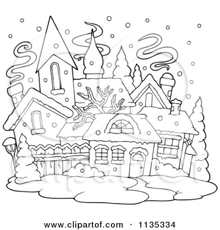 Cartoon Of An Outlined Winter Village With Snow - Royalty Free Vector Clipart by visekart