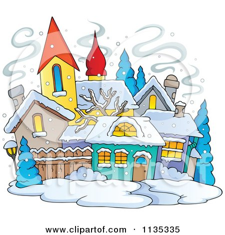 Cartoon Of A Winter Village With Snow - Royalty Free Vector Clipart by visekart