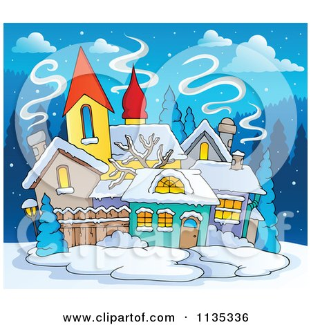 Cartoon Of A Winter Village With Snow At Night - Royalty Free Vector Clipart by visekart