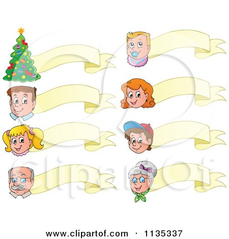 Cartoon Of Happy Faces A Christmas Tree And Ribbon Banners - Royalty Free Vector Clipart by visekart