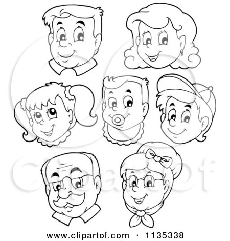 Cartoon Of Outlined Happy Family Faces - Royalty Free Vector Clipart    Happy Family Cartoon Black And White