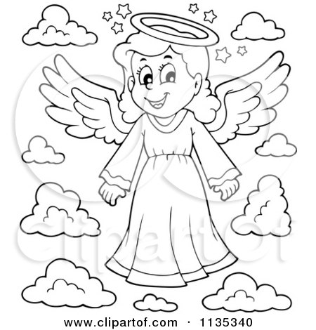 Cartoon Of An Outlined Girl Angel And Clouds - Royalty Free Vector Clipart by visekart