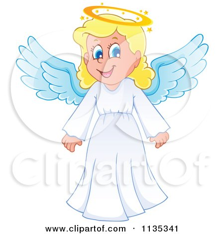 Cartoon Of A Blond Girl Angel Royalty Free Vector Clipart