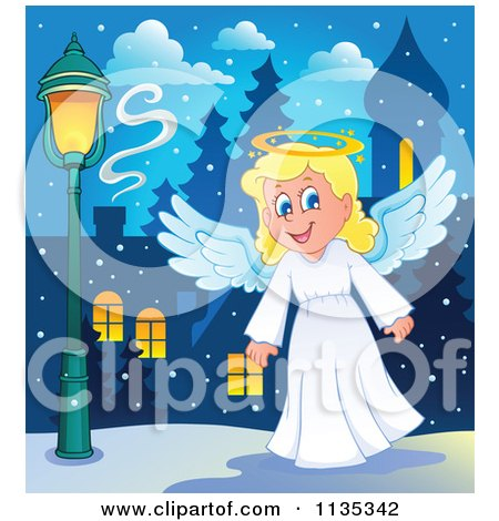 Cartoon Of A Blond Christmas Girl Angel - Royalty Free Vector Clipart by visekart