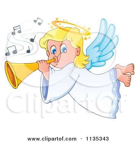 Cartoon Of A Blond Girl Angel Playing A Horn Royalty Free Vector Clipart
