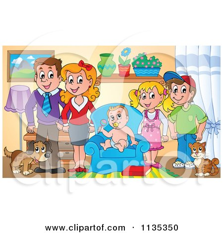 Clipart of a Cartoon Black and