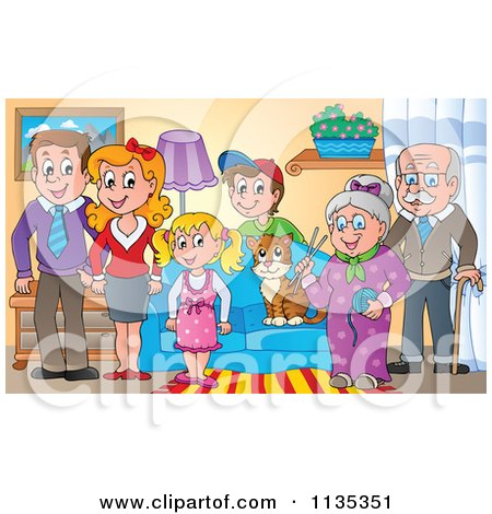 Cartoon Of A Happy Family And Cat In A Living Room - Royalty Free Vector Clipart by visekart