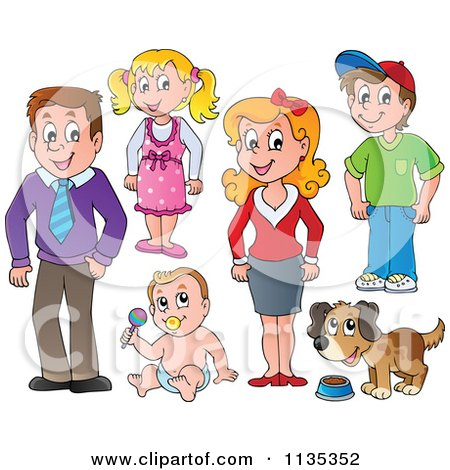Cartoon Of Family People And A Dog - Royalty Free Vector Clipart by visekart