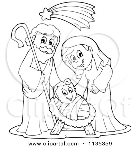 Cartoon Of An Outlined Joseph Virgin Mary And Baby Jesus Nativity Scene - Royalty Free Vector Clipart by visekart