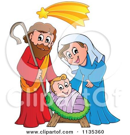 Cartoon Of A Joseph Virgin Mary And Baby Jesus Nativity Scene - Royalty Free Vector Clipart by visekart